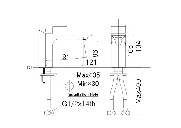 Bản vẽ vòi lavabo nóng lạnh 1 lỗ Hàn Quốc Mirolin MK801C