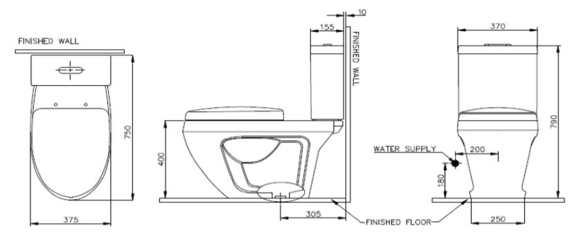 Bản vẽ kỹ thuật của bàn cầu 2 khối Nahm NAAN CASUAL (NM-2862)