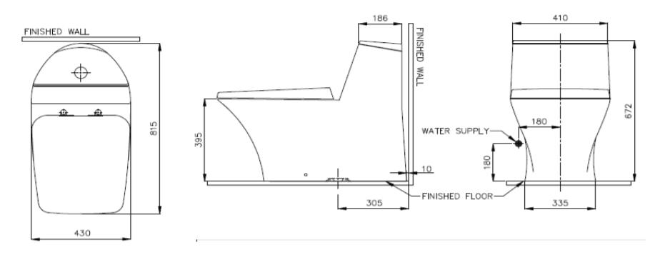 Bản vẽ bàn cầu 1 khối NICE (NM-1810/WT-D)