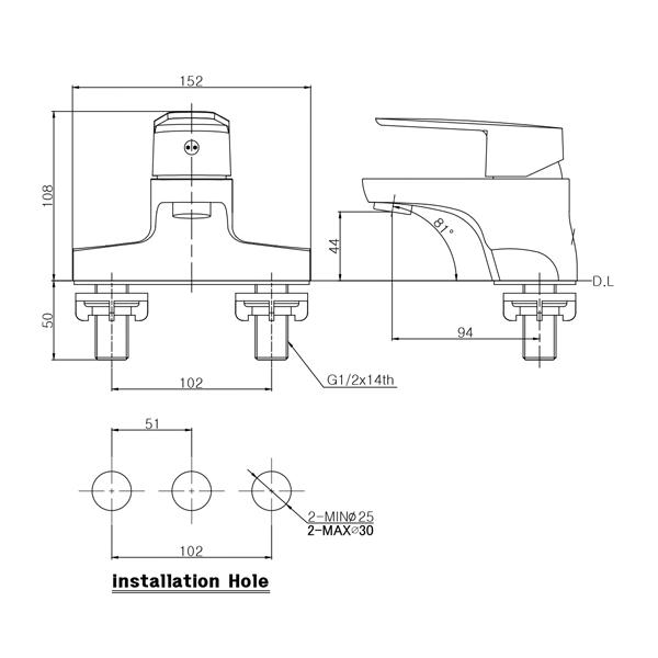 Vòi lavabo nóng lạnh 2 lỗ Hàn Quốc Mirolin MK602