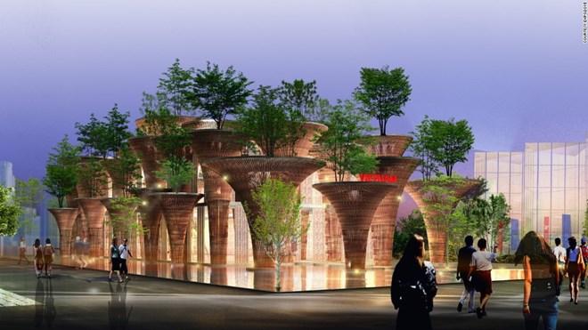 Mô hình công trình nhà tre Việt Nam tại Milan. Nguồn: CNN