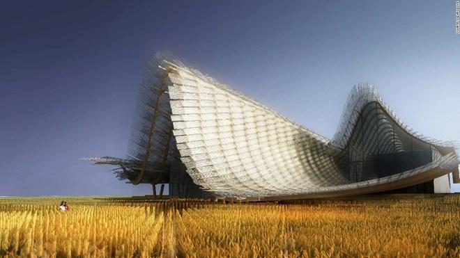 7. Công trình của Trung Quốc: Sự kỳ diệu của cây trồng đến với cuộc sống và những phương pháp sản xuất các loại thực phẩm truyền thống như đậu hũ đã chiếm vị trí trung tâm sân khấu trong gian hàng của Trung Quốc, nhằm tôn vinh nền nông nghiệp.