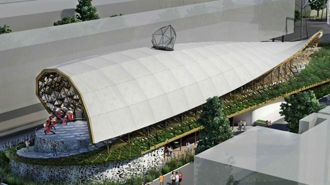 17. Iran tham dự với một khối kiến trúc mở, giống như chiếc lều.
