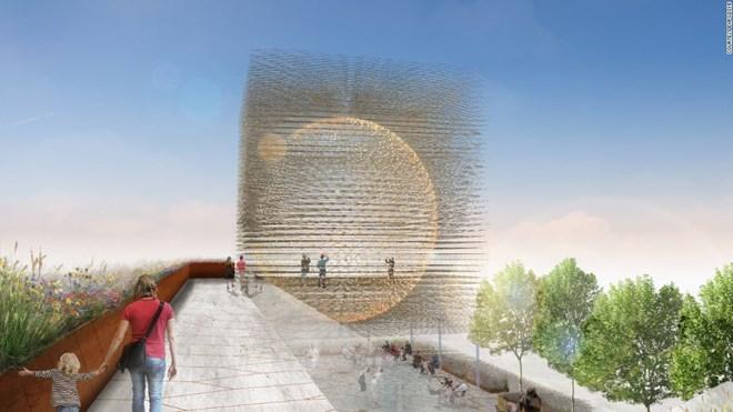 23.Trong hình là công trình kiến trúc độc đáo của Anh tham gia ở triển lãm Milan Expo 2015. Đây là hình ảnh một quả cầu vàng làm hoàn toàn bằng thép và có cấu trúc giống như tổ ong hay nói cách khác là một tổ ong khổng lồ.