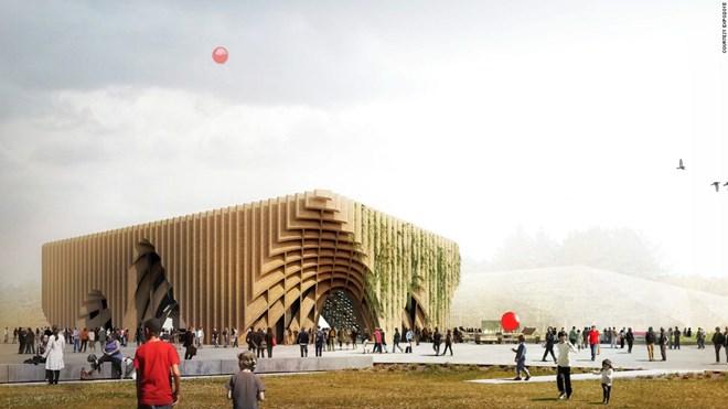 2. Cấu trúc gỗ thống trị gian hàng của Pháp trong năm nay và được thiết kế theo nhiều cách khác nhau.